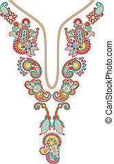 Neckline embroidery fashion, ukrainian traditional style