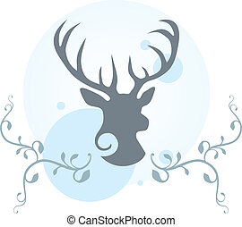 Deer head illustration - Decorative illustration of deer...