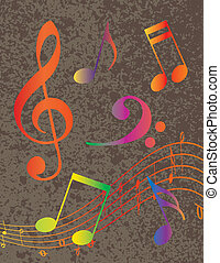 Colorful Musical Notes on Textured Background Illustration -...