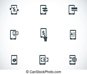 Vector black mobile banking icons set
