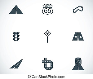 Vector black road icons set