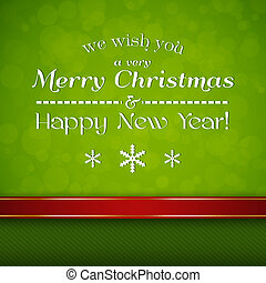 Merry Christmas card with ribbon, snoflakes and text