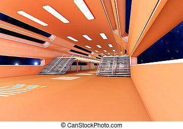 Space station Interior. 3D Architecture visualization.