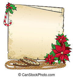 Christmas background with horseshoe and paper for text. -...