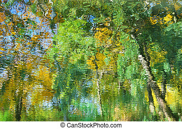 Abstract colorful autumn foliage reflecting in water