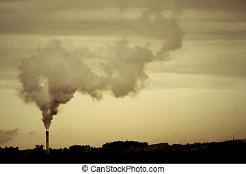 Dark Pollution - A retro-style Photo of a polluting factory.
