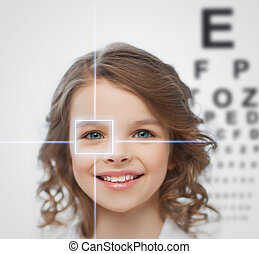 girl with eyesight testing board - health, vision, medicine,...