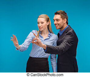 woman and man working with virtual screen - business,...