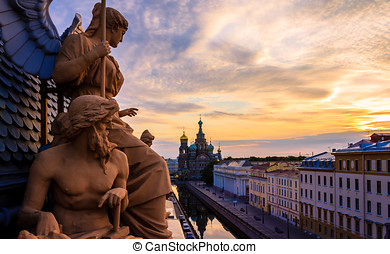 Sky Guards - Sculptures on the roof of the historical Bank...