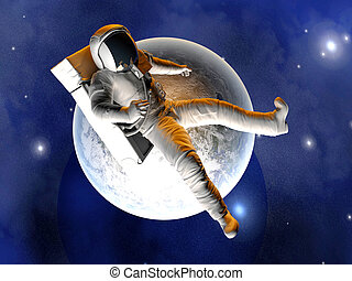 Astronaut floating over the Earth