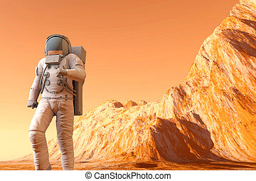 Astronaut on Mars - A Astronaut walking on the surface of...