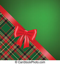 Christmas card with red ribbon bow and tartan background
