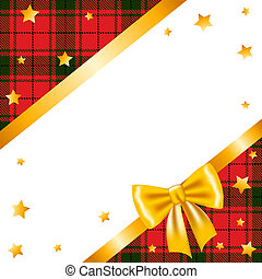 Christmas card with gold ribbon bow, stars and tartan...