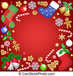 Christmas frame - Christmas decoration and sweets frame