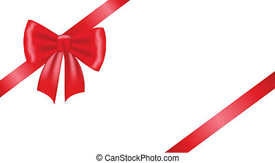 gift bow - Card with red ribbon gift bow