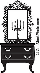candlestick and mirrow - Antique furniture with candlestick...