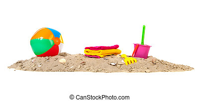 Beach sand with ball and toys