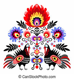 Folk Embroidery With Turkeys - polish folk traditinal design