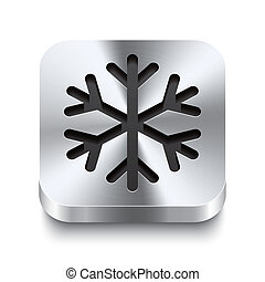 Square metal button perspektive - snowflake icon - Realistic...