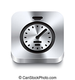 Square metal button perspektive - stopwatch icon - Realistic...