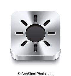 Square metal button perspektive - sun icon