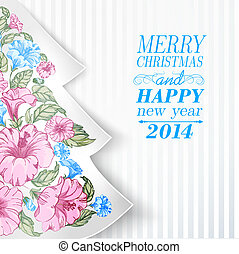 Chrismas fir tree from flowers. Vector illustration.
