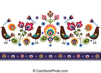 Folk Pattern With Birds - polish traditional folk pattern