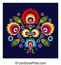 Folk Pattern With Flower - polish folk traditinal design