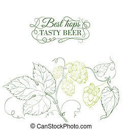 Hop and tasty beer sign over white. Vector illustration.