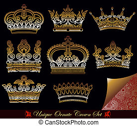 gold crown set - unique ornamental heraldic gold crown set