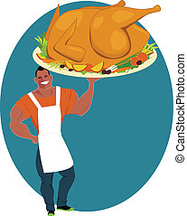 Holiday turkey - Smiling muscular man holding a huge roasted...