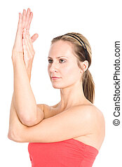 Yoga woman - A shot of a caucasian woman practicing yoga