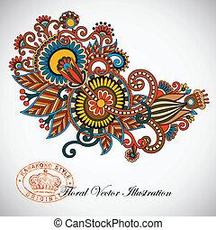 line art ornate flower design - Hand draw line art color...
