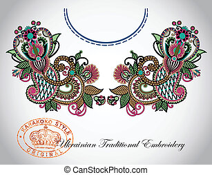 Neckline embroidery fashion Ukrainian traditional pattern