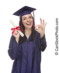 Mixed Race Graduate in Cap and Gown Holding Her Diploma -...