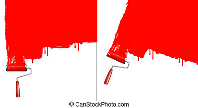 Red roller painting the white wall. Two backgrounds vector.