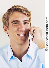 Young Professional, Handsome Man Using Smart Mobile Phone
