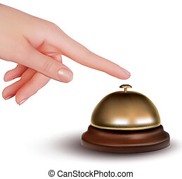 Hand ringing the bell to call. Service desk. Vector...
