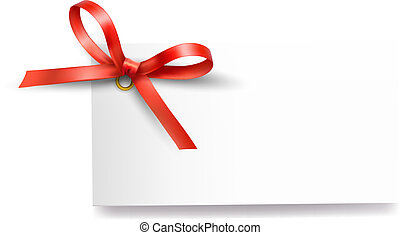 Card with red gift bow with ribbons Vector