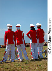 Marching Band Members - A group of marching band musicians....