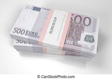 Packets of 500 Euro bills - 3D illustration - Packets of 500...