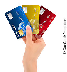 Male hand showing credit cards. vector illustration.