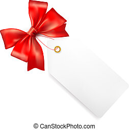 Sales tag with red gift bow. Vector illustration