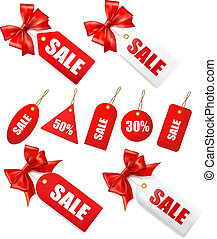 Big set of sales tags with red gift bow and ribbons. Vector...