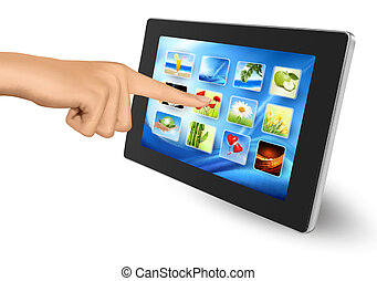 Hand holding touch pad pc and finger touching its screen...