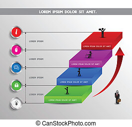 Stair step up - Business Infographics circle origami style...
