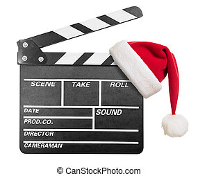 Clapper board with Santa's hat isolate - Clapper board with...