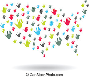 USA Hands map logo - USA Hands map