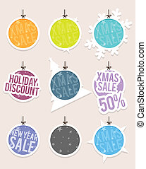 Hanging Christmas Sale Labels - Vector illustration of...