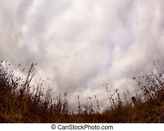 Clouds over dry grass Fisheye lens Time Lapse 4x3